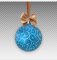 christmas ball with ball and ribbon on transparent vector image vector image