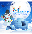 Christmas theme with snowman and igloo vector image