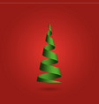 christmas tree made of green ribbon on red vector image vector image