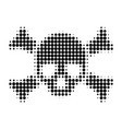 death skull halftone dotted icon vector image
