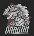 dragon head silver colour vector image vector image