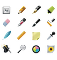 drawing writing tools icons vector image
