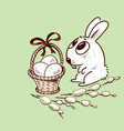 easter bunny with a basket vector image vector image