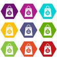 eco food bag icon set color hexahedron vector image vector image
