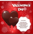 Gift card with chocolate melting hearts Valentine vector image vector image