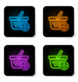 glowing neon add to shopping basket icon isolated vector image vector image