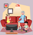 grandmother sitting in chair with grandchildren vector image