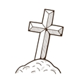 Grave hill cross monument vector image vector image