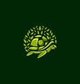green turtle leaf logo design vector image vector image