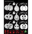 Hand Drawn Halloween Chalk Pumpkins Set vector image vector image
