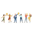 happy people holding trophy and award for work vector image