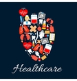 Heart medical poster with healthcare icons vector image vector image