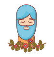 hippie with meditation with long beard vector image vector image