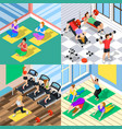 isometric workout 2x2 concept vector image vector image