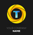 letter t logo symbol in the colorful circle vector image vector image