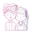 line beauty couple married with hairstyle design vector image vector image