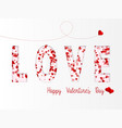 love lettering with hearts flying happy vector image vector image