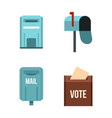 mail box icon set flat style vector image vector image