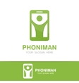 man and phone logo concept vector image