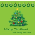 Merry Christmas postcard with fir vector image vector image