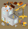 modern construction isometric composition vector image vector image