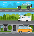 off road car camper van and retro bus on highway vector image vector image
