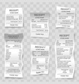 realistic paper shop receipts set vector image vector image