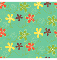 Retro Flowers Pattern Green vector image