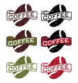 retro grunge labels with coffee bean vector image vector image