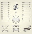 set of emblems and blazons with arrows heraldic vector image