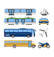 set of flat urban transport icon cartoon vector image vector image