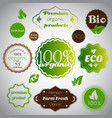 set of organic and farm fresh foodstickers vector image vector image