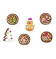 set of various gingerbread figures cute hand vector image vector image