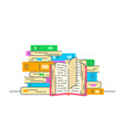 stack books with open book flat vector image