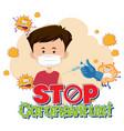 stop coronavirus banner with patient wearing vector image vector image