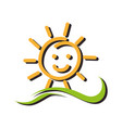 summer sun character icon vector image vector image