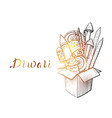 traditional diwali box with fireworks vector image vector image