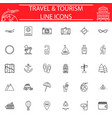 travel line icon set travel symbols collection vector image vector image