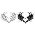 two angel hearts vector image vector image