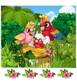 Two tropical parrots and their nestling in nature vector image vector image