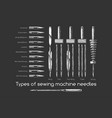 types sewing machine needles vector image vector image