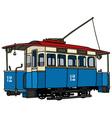Vintage blue tramway vector image vector image