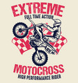 vintage shirt design motocross vector image
