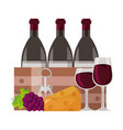 wine bottles glass cups vector image vector image