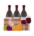 wine bottles glass cups vector image