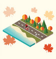 woman cycling on countryside autumn sunny road or vector image