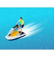 Young Man on Jet Ski Tropical Ocean Creative vector image
