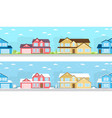 summer and winter town vector image