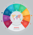 9 options pie chart template for graphs vector image vector image
