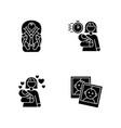 babysitting service black glyph icons set